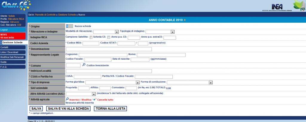Registrazione Nuova scheda di classificazione