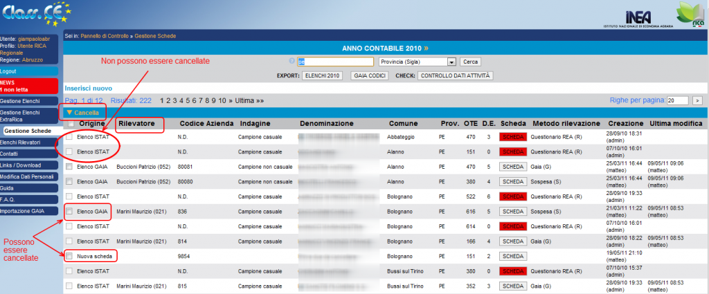 "Gestione schede: utente ""RICA regionale"""
