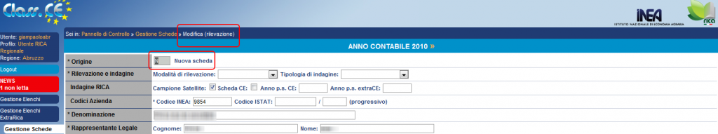 """Modifica dati: Origine """"Nuova scheda"""""""