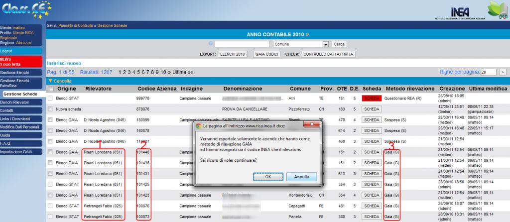 Esportazione file GAIA_CODICI