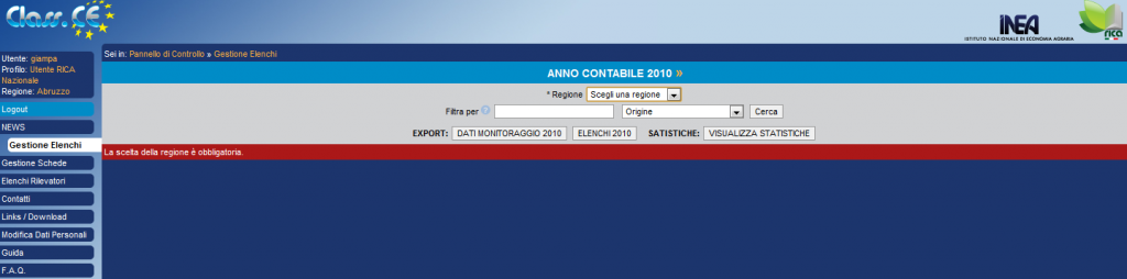 """Gestione elenchi: utente """"RICA nazionale"""""""
